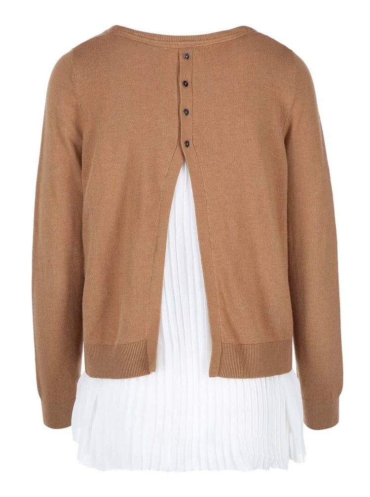 Pulover de damă  s.Oliver maro cu bluză albă