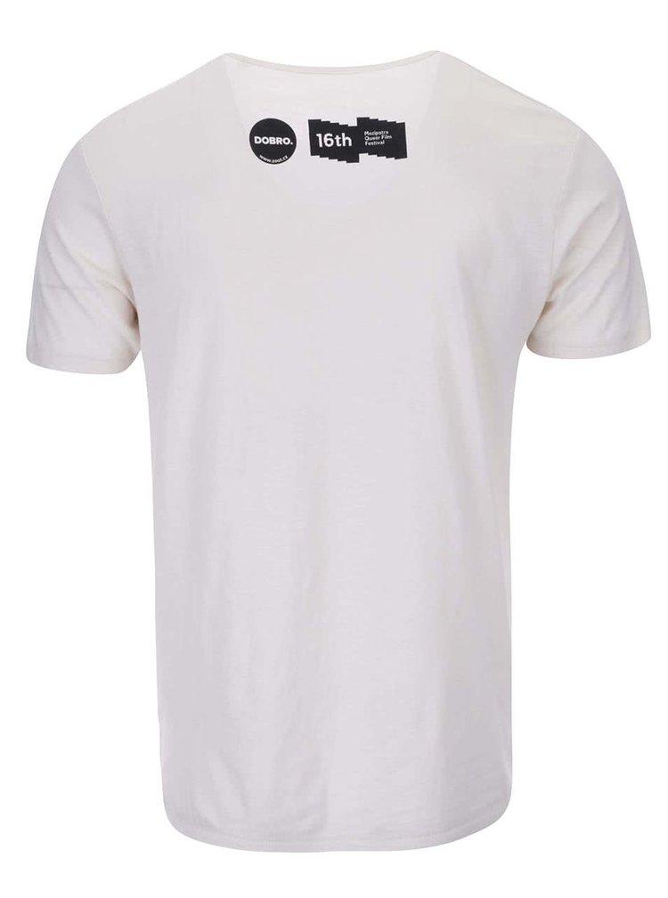 """""""Dobré"""" krémové unisex triko s potiskem pro Mezipatra"""