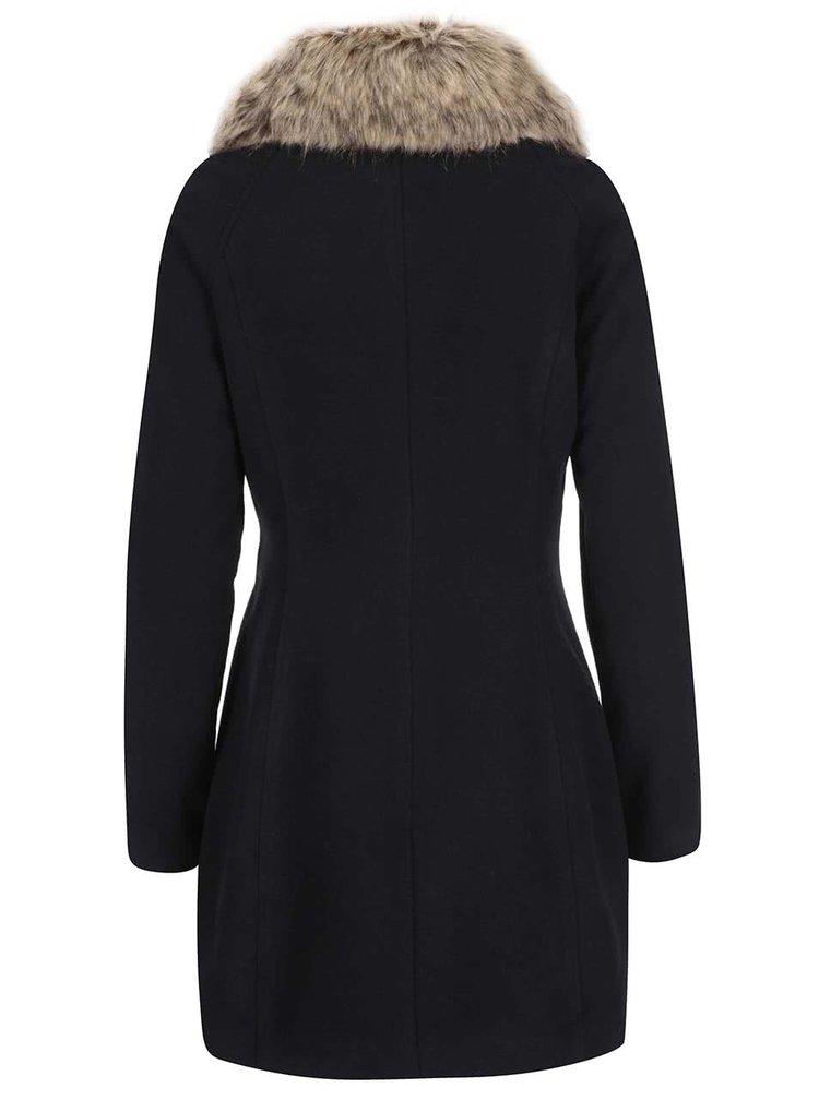 Černý kabát s umělou kožešinou Haily´s Zeya