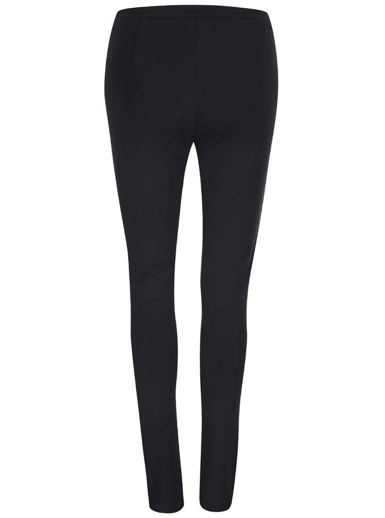 Černé kalhoty s koženkovými detaily Haily´s Tasha