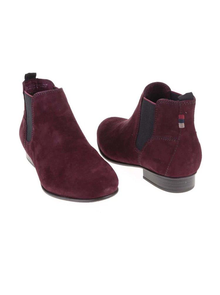 Vínové kožené kotníkové boty Tamaris