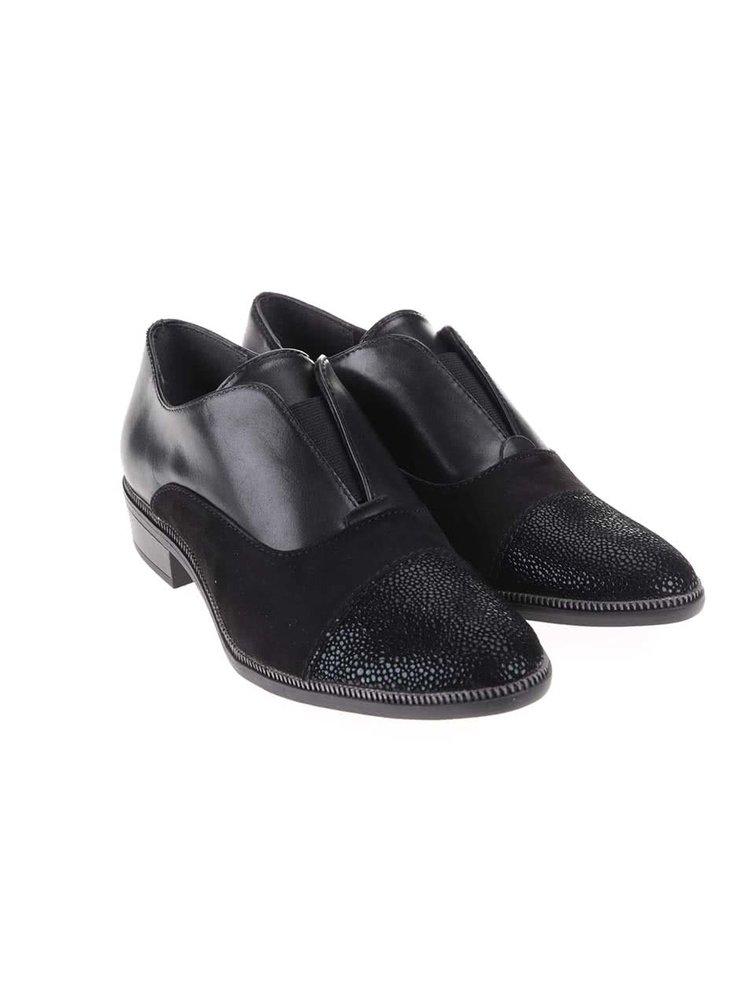 Pantofi negri din piele cu vârf lucios Tamaris