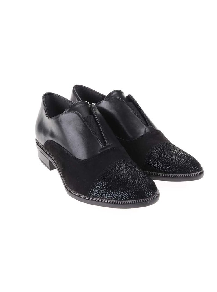 Pantofi negri din piele cu varf lucios Tamaris