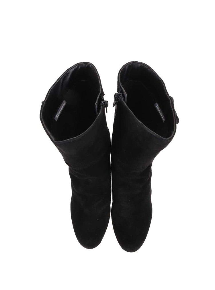 Cizme din piele cu franjuri Tamaris - negru