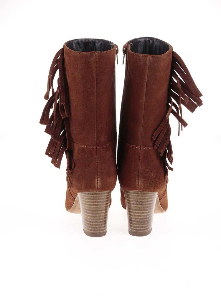 Hnedé kožené čižmy so strapcami Tamaris