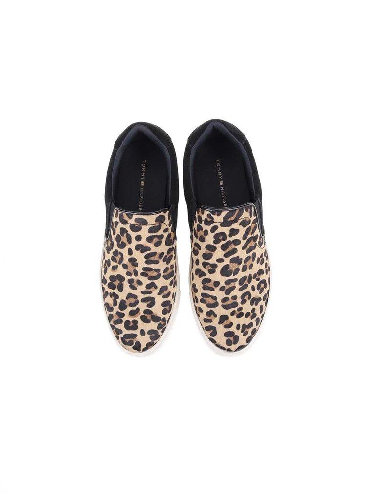 Hnědé dámské kožené slip on tenisky s gepardím vzorem Tommy Hilfiger TILLY