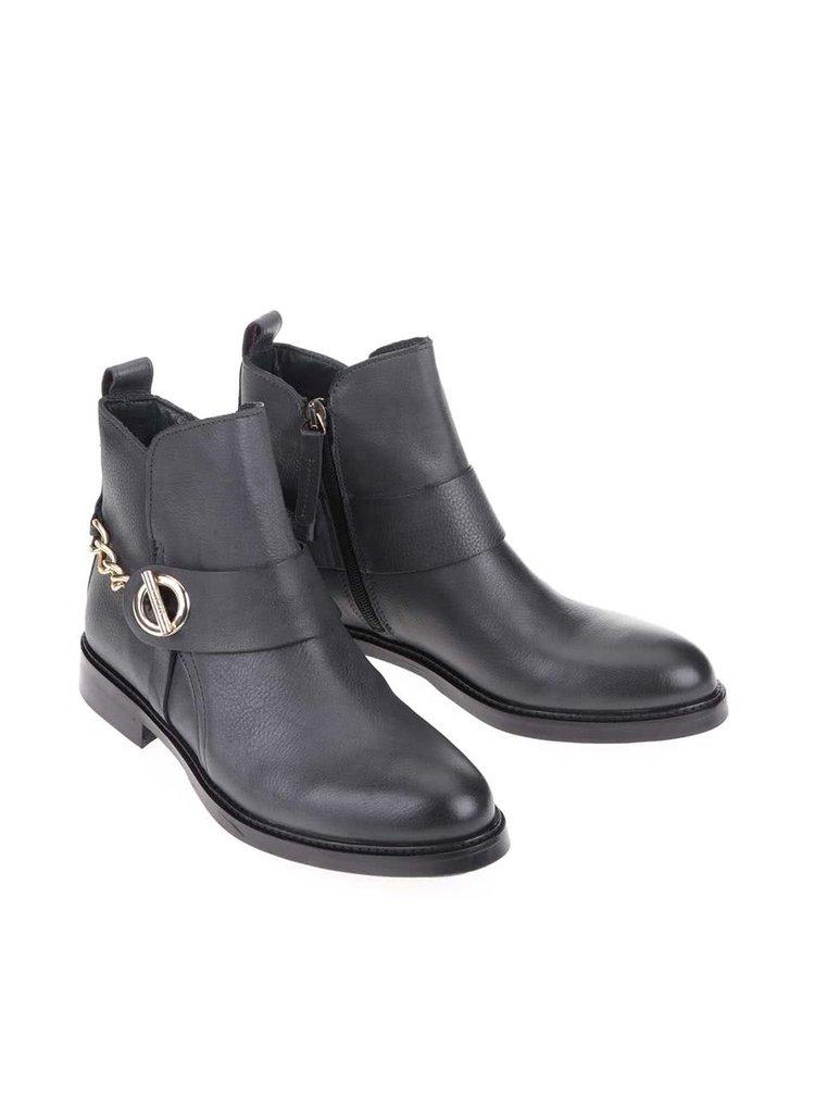 Šedé dámské kožené kotníkové boty Tommy Hilfiger Holly