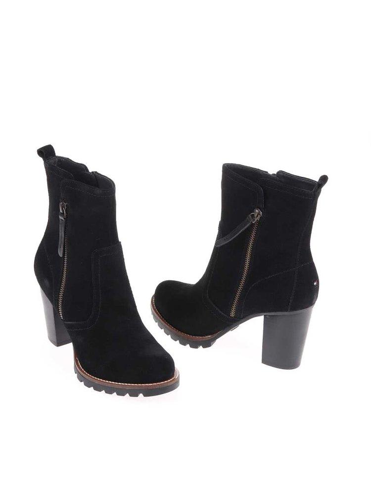 Černé kožené kotníkové boty na podpatku Tommy Hilfiger Isabella