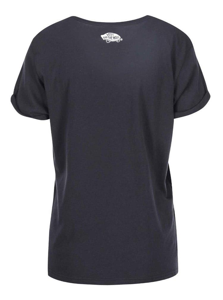 Černé dámské tričko s barevnou kapsou Vans