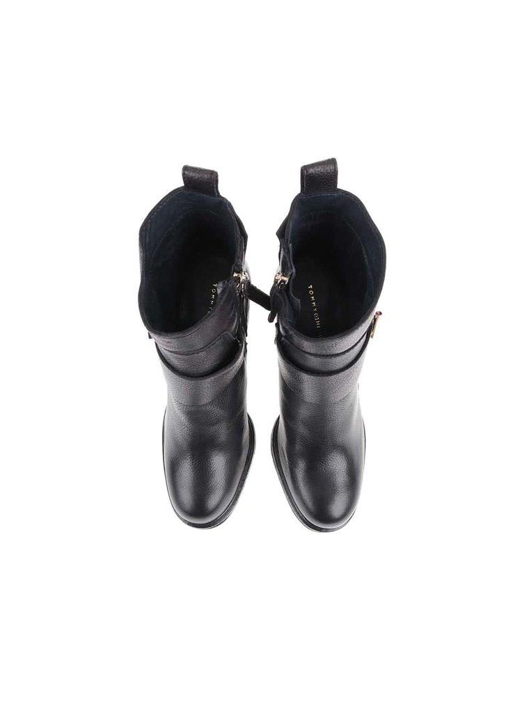 Černé kožené kotníkové boty na podpatku Tommy Hilfiger Hillary