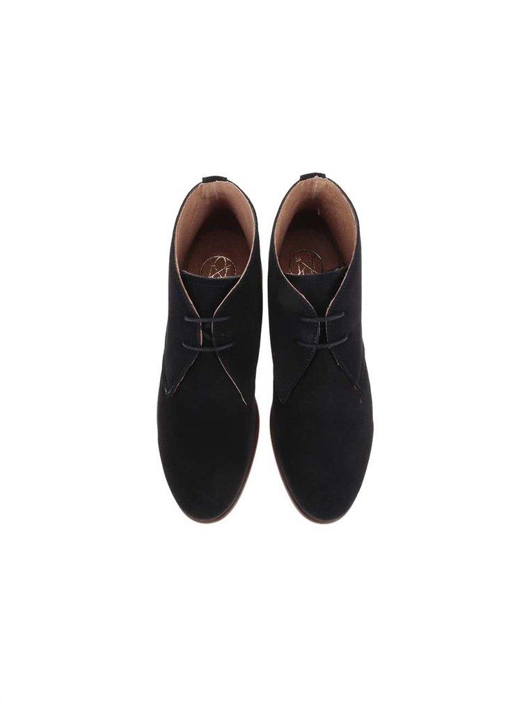 Černé kožené kotníkové boty se semišovou úpravou OJJU