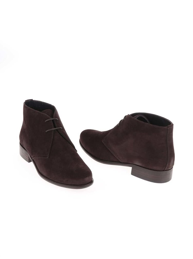 Tmavohnedé kožené členkové topánky so semišovou úpravou OJJU