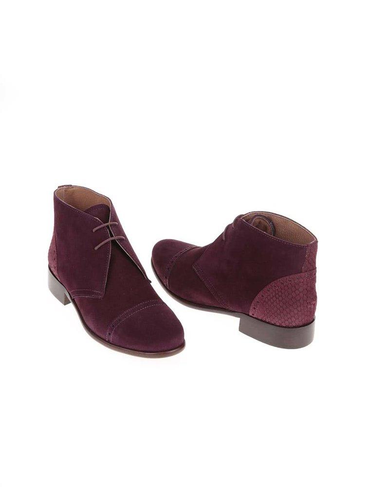 Vínové kožené členkové topánky s výraznými detailmi OJJU