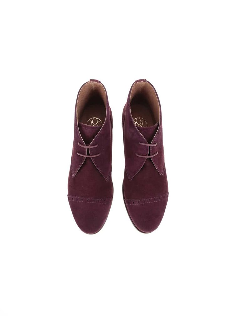 Vínové kožené kotníkové boty s výraznými detaily OJJU