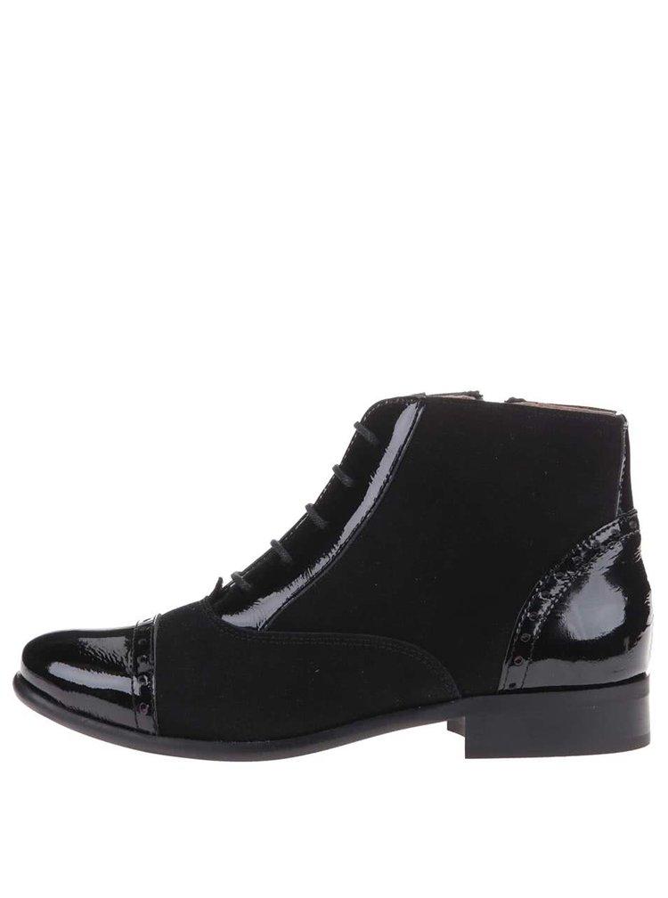 Černé kožené kotníkové boty se zipem OJJU