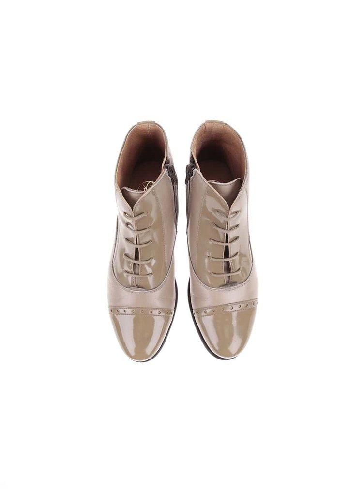 Béžové kožené členkové topánky so zipsom OJJU