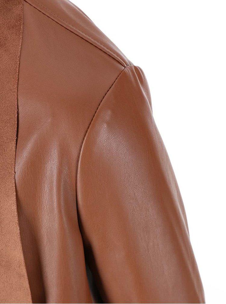 Hnědý koženkový blejzr New Look