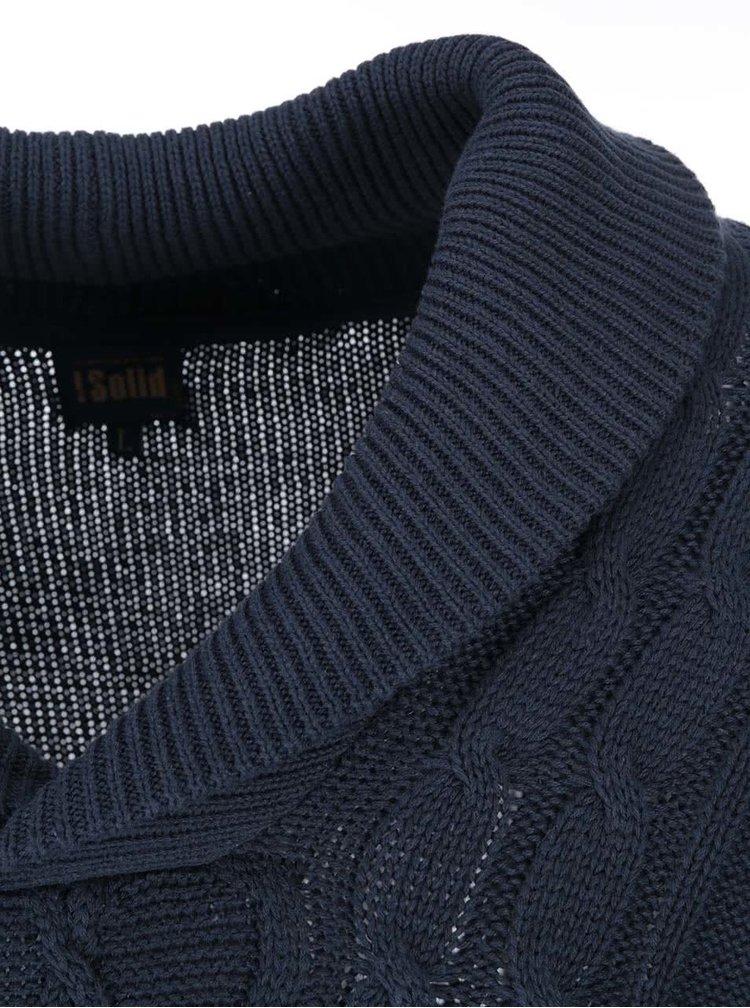 Tmavomodrý sveter s golierom !Solid Stanislav