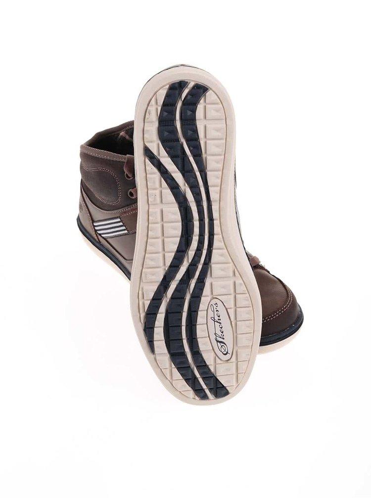 Hnědé pánské kožené kotníkové tenisky Skechers Sorino