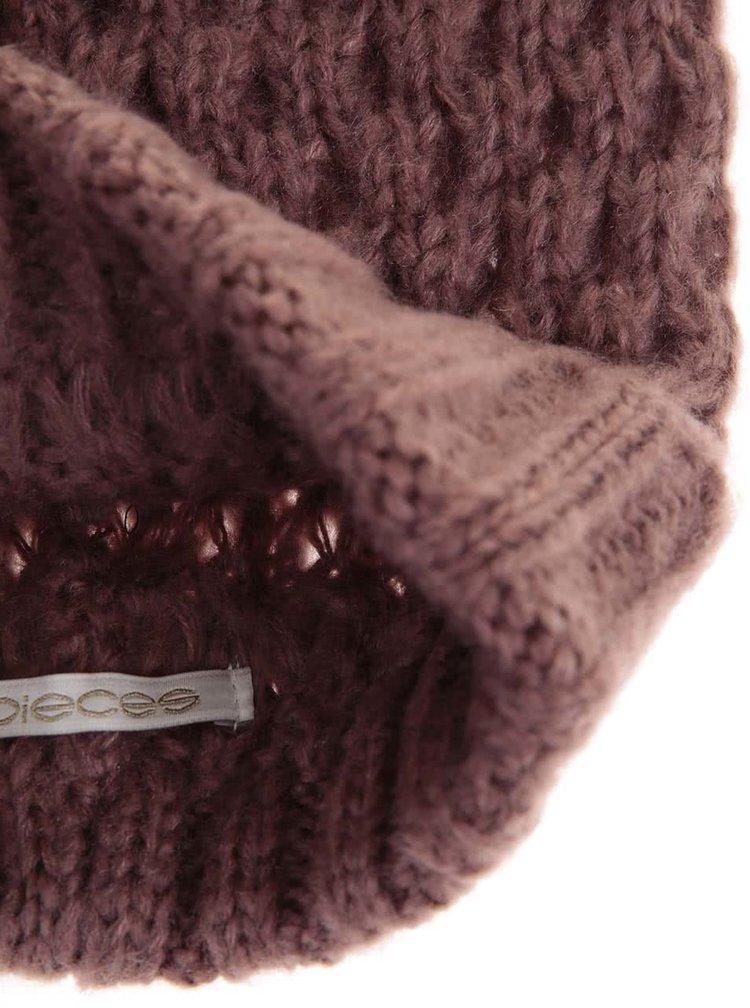 Caciula roz tricotata, cu funda Pieces Victorine
