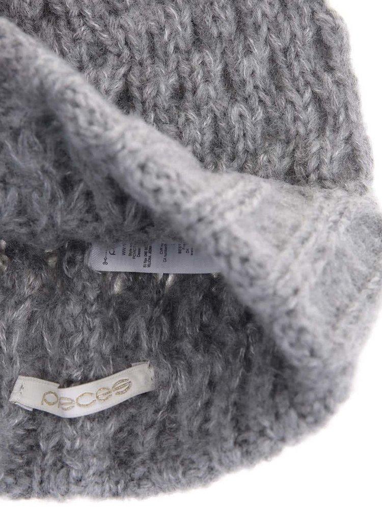 Caciula gri tricotata, cu funda Victorine de la Pieces