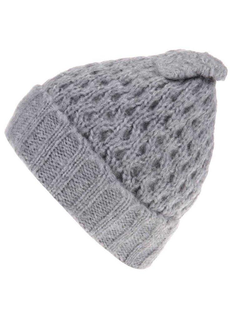 Căciulă gri tricotată, cu fundă Victorine de la Pieces