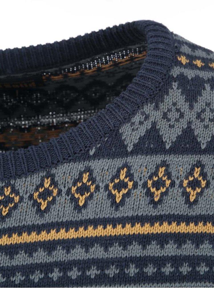 Modro-zelený vzorovaný sveter so žltými detailmi !Solid Stanton