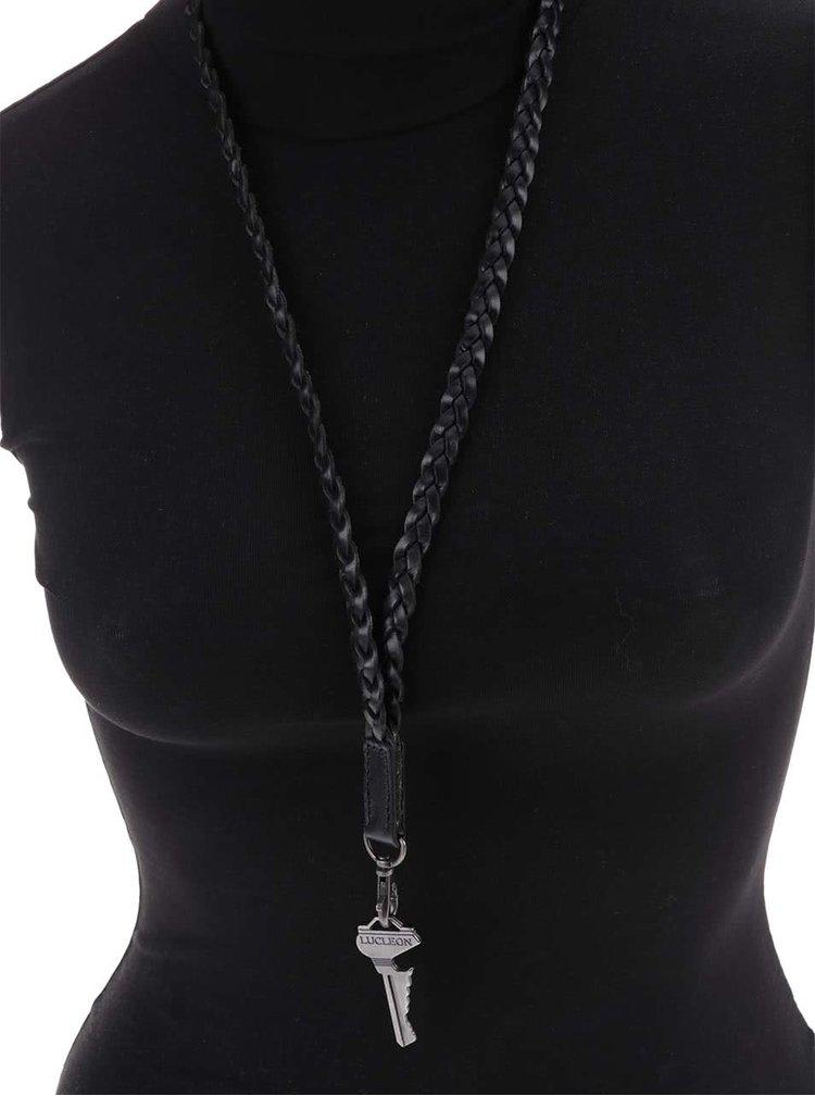 Čierna kožená šnúrka na kľúče Lucleon Forli