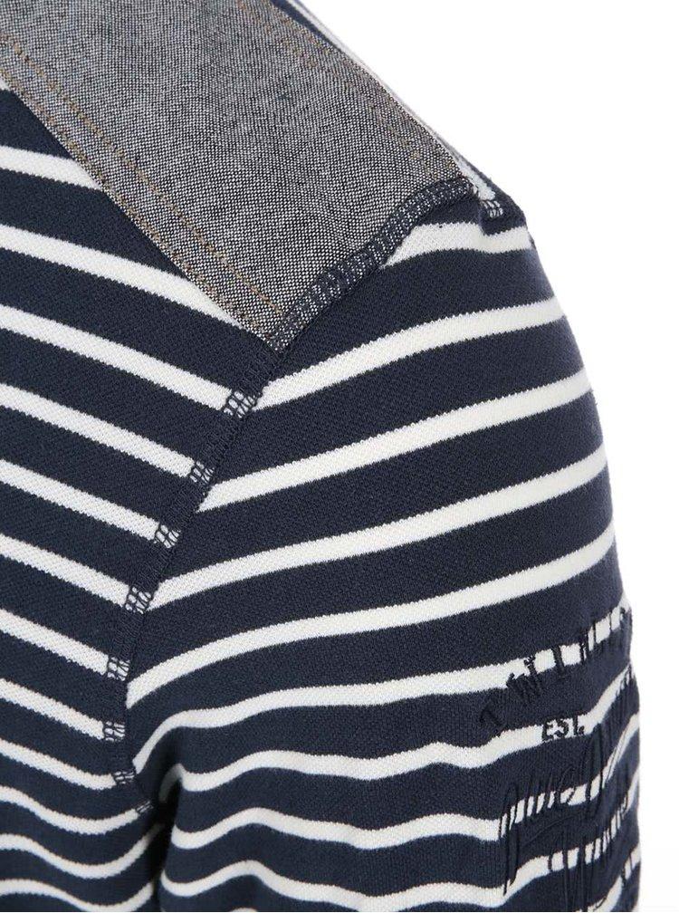 Tricou bleumarin cu dungi albe Twinlife