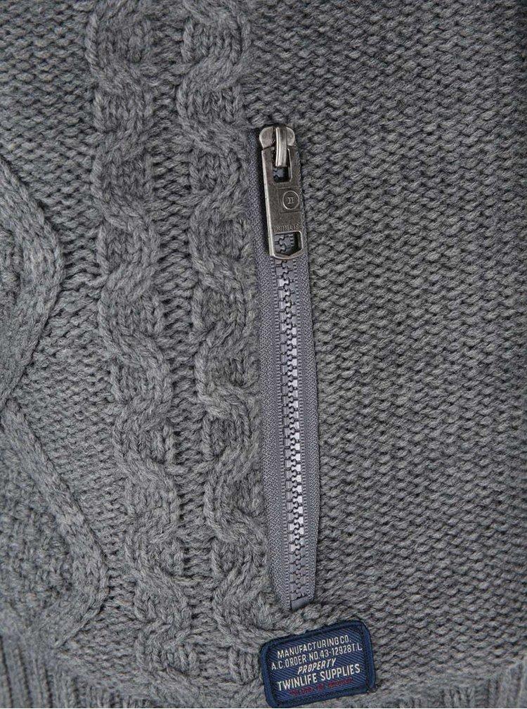 Pulover bărbătesc cu model Twinlife - gri