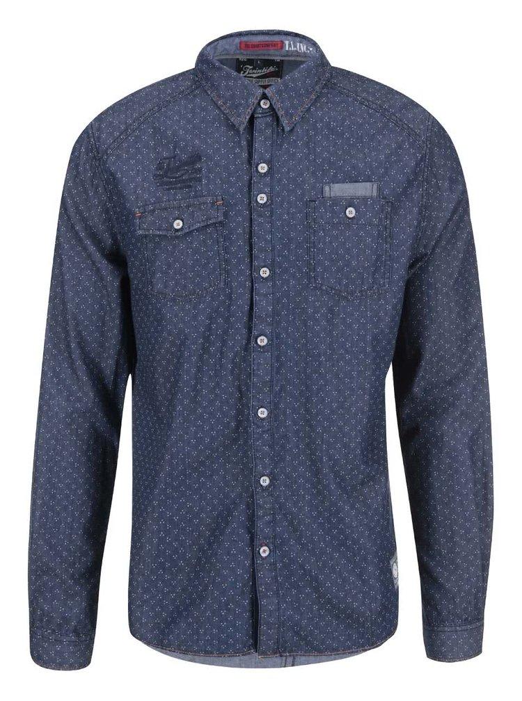 Tmavomodrá rifľová regular fit košeľa Twinlife