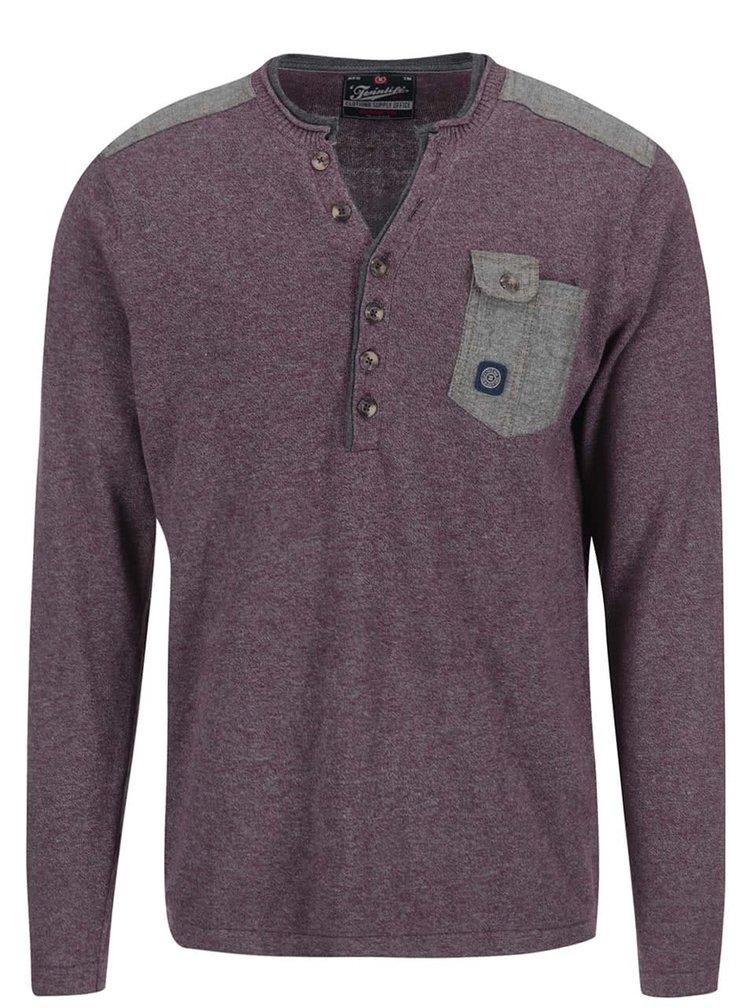 Vínový žíhaný svetr s knoflíky u krku Twinlife