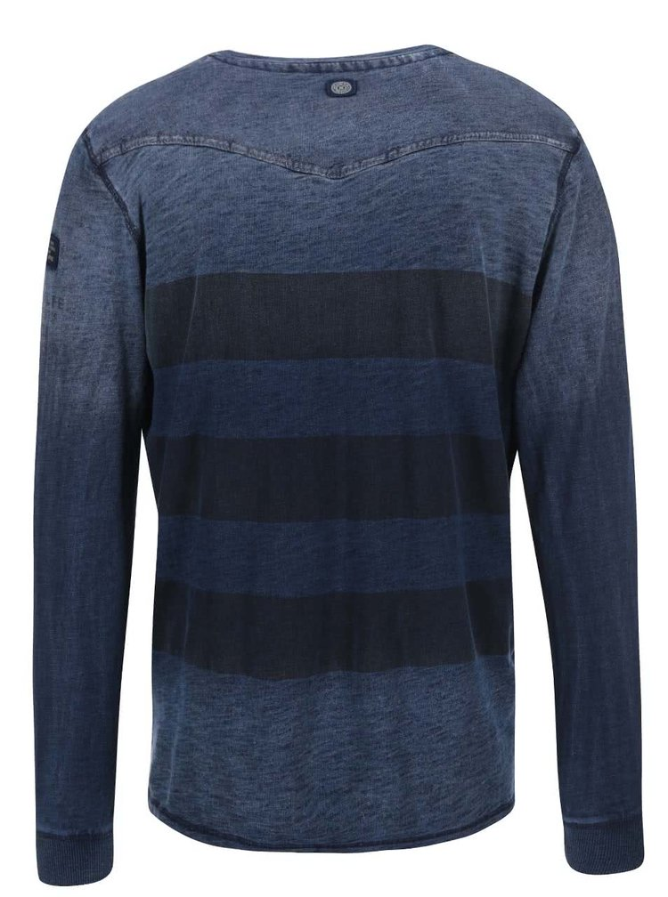 Tricou albastru cu dungi melanj Twinlife