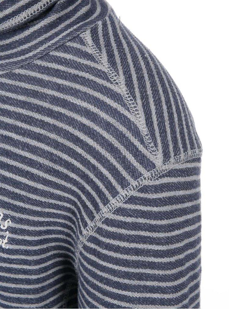 Bluză sport în dungi gri și albastru cu guler înalt Twinlife
