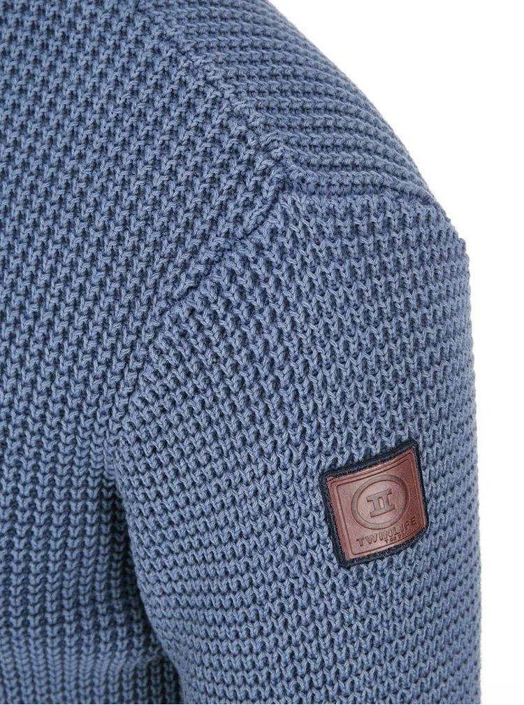 Pulover bărbătesc albastru cu guler cu nasturi Twinlife