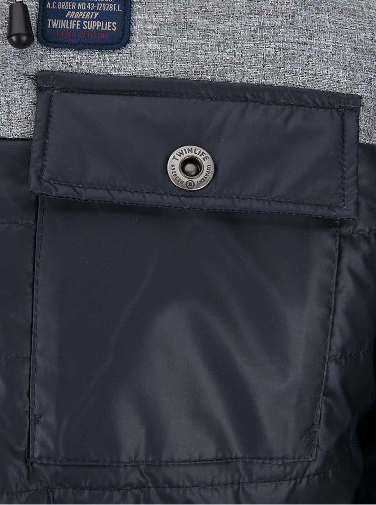 Jachetă gri-albastră cu glugă Twinlife