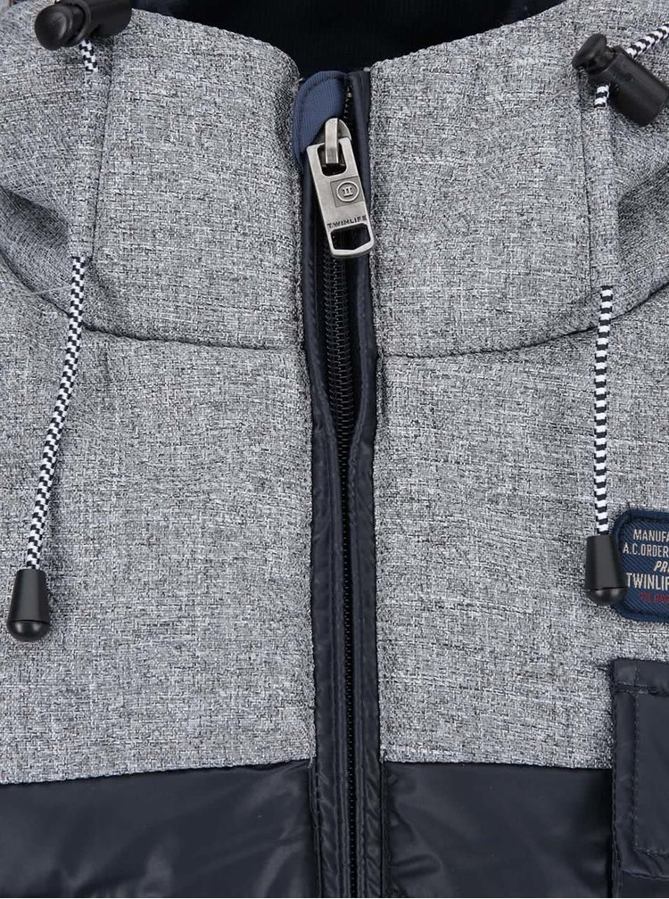 Šedo-modrá bunda s kapucí Twinlife