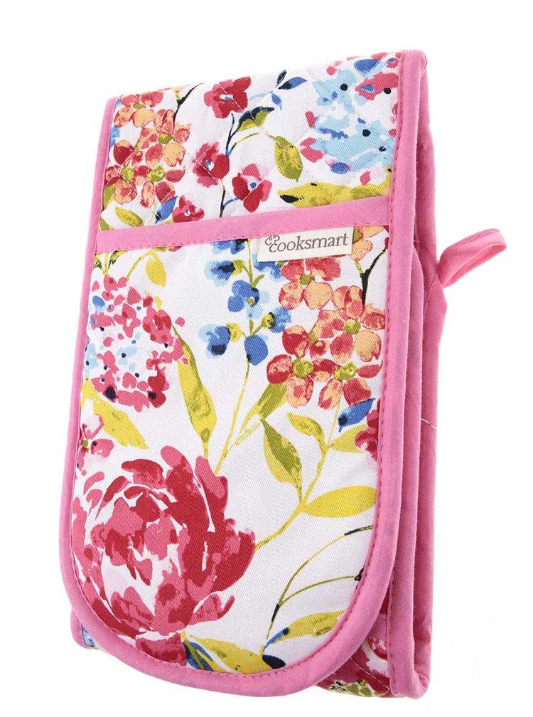 Manusi de bucatarie alb & roz Cooksmart Floral Romance din bumbac cu model floral