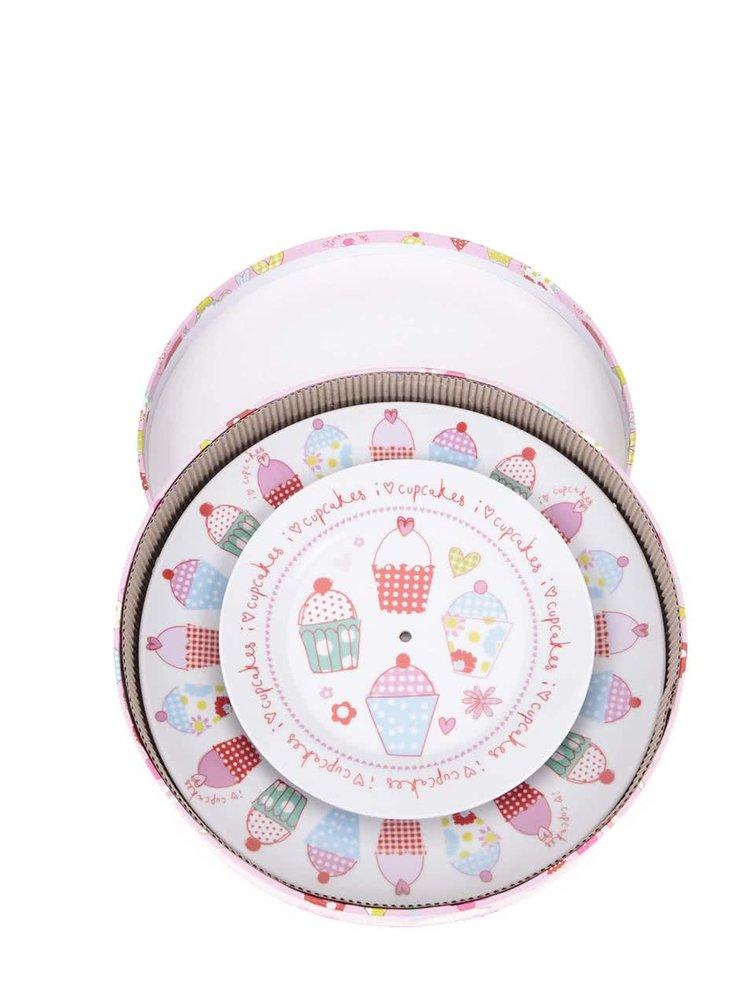 Farebný dvojdielny porcelánový podnos Cooksmart Cupcakes