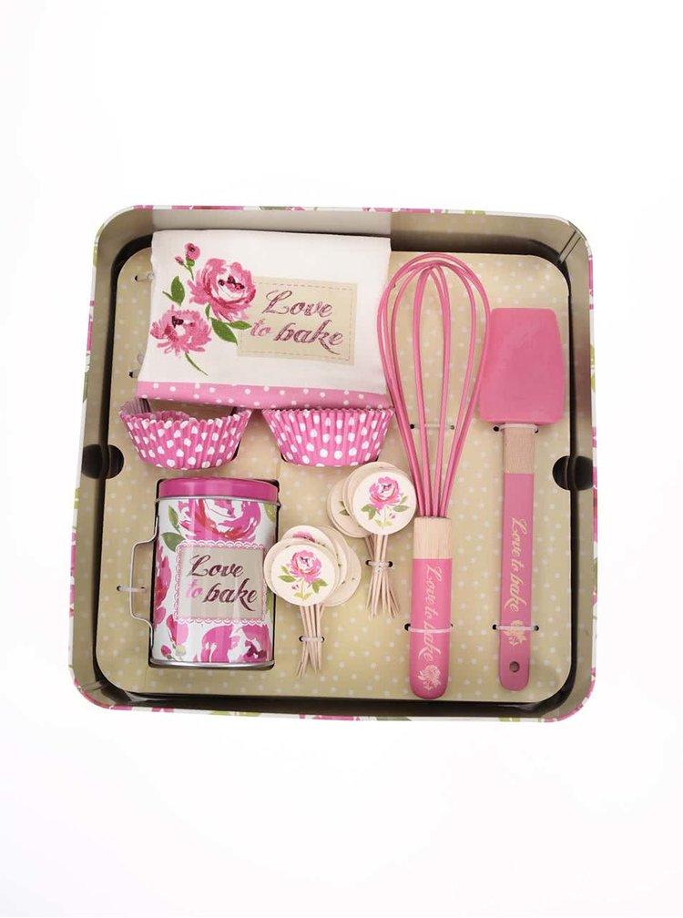 Ružový set kuchynského príslušenstva Cooksmart Love To Bake