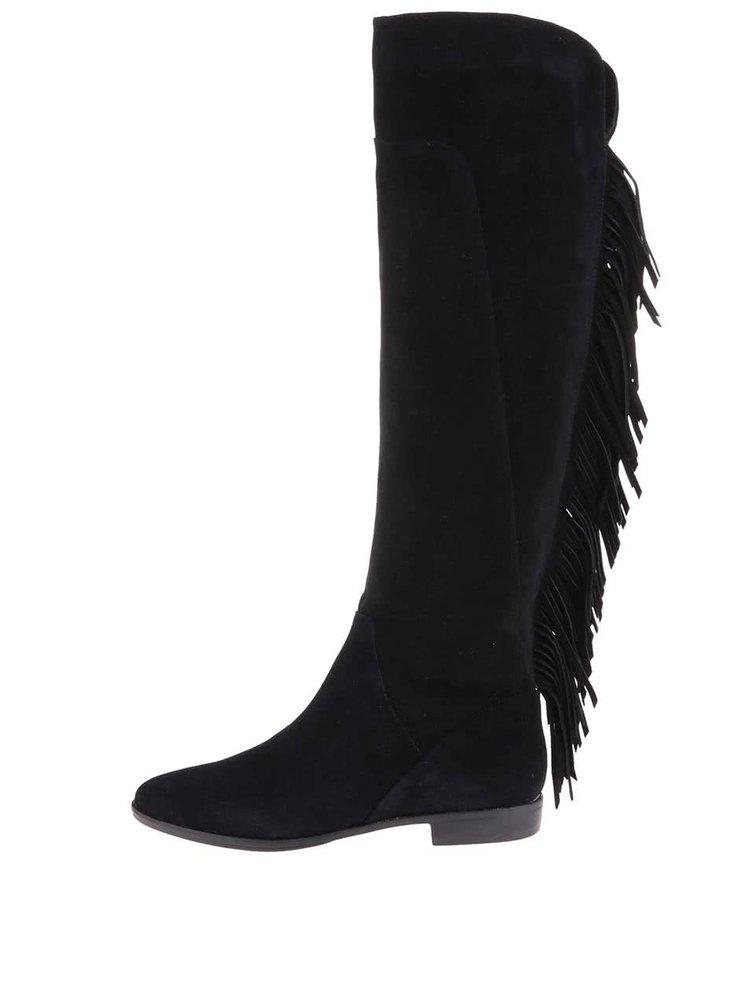 Čierne kožené čižmy so strapcami ALDO Cyndy