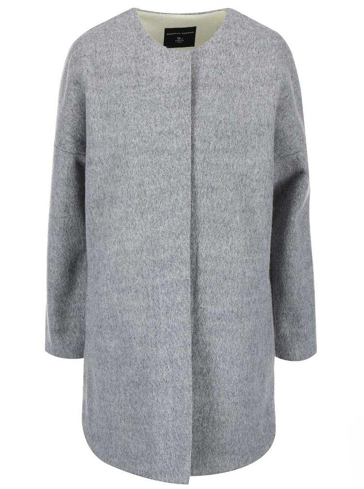 Šedý kabát se zelenou podšívkou Dorothy Perkins