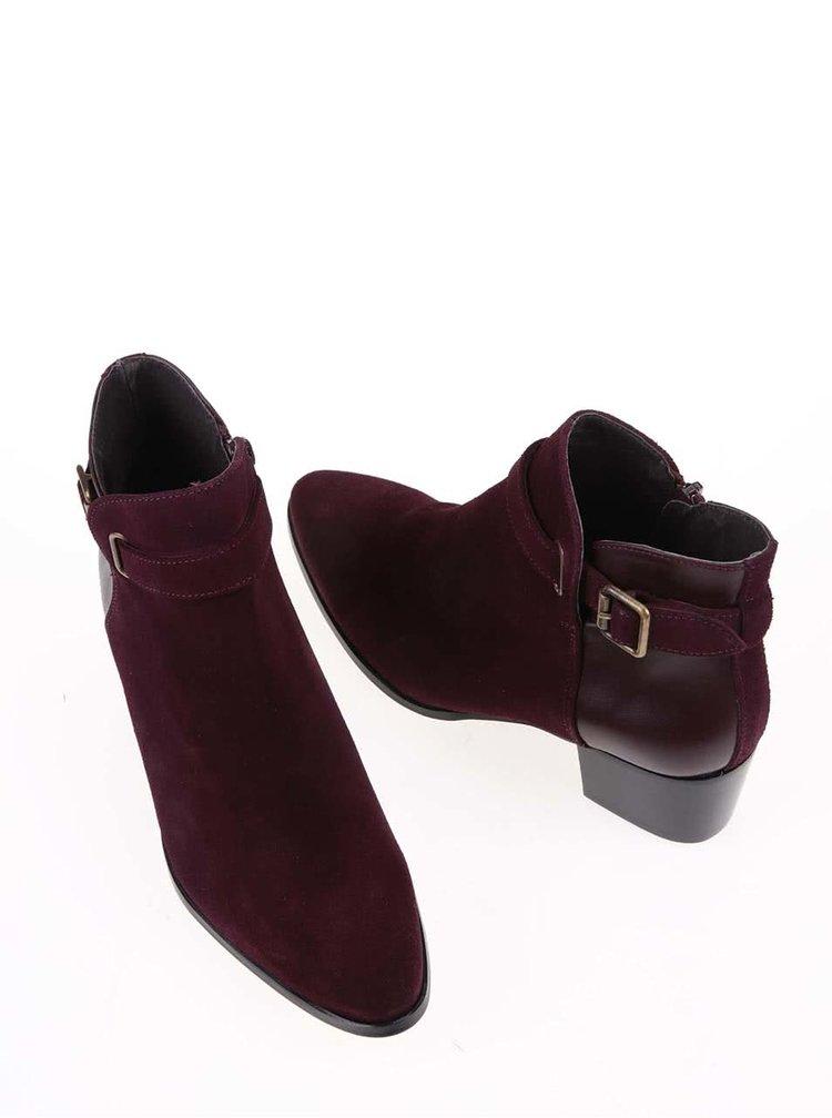 Vínové kožené kotníkové boty na podpatku OJJU