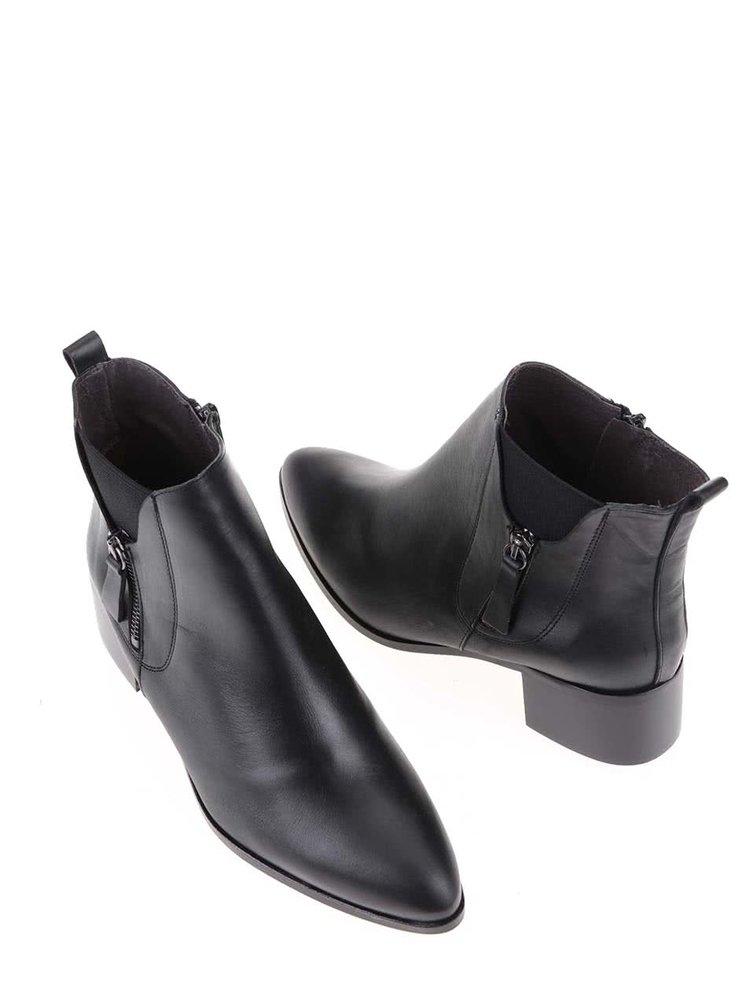 Čierne kožené členkové topánky OJJU