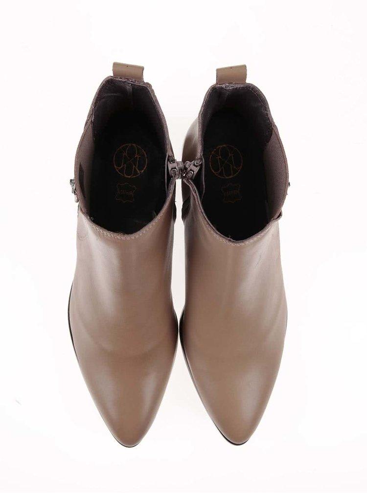 Béžové dámské kožené kotníkové boty OJJU
