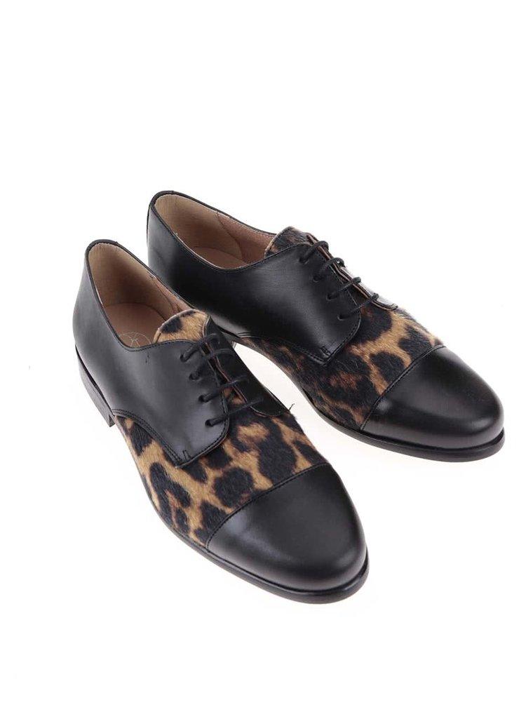 Černé kožené polobotky s leopardím vzorem OJJU