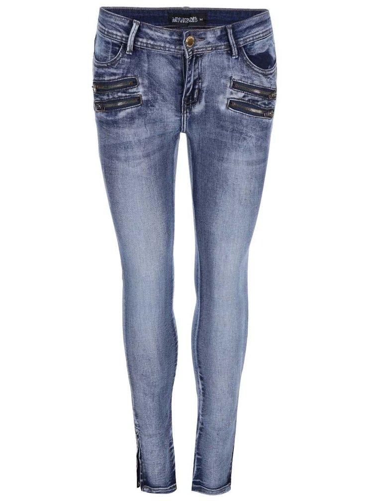 Modré dámské džíny se zipy Haily´s Annie