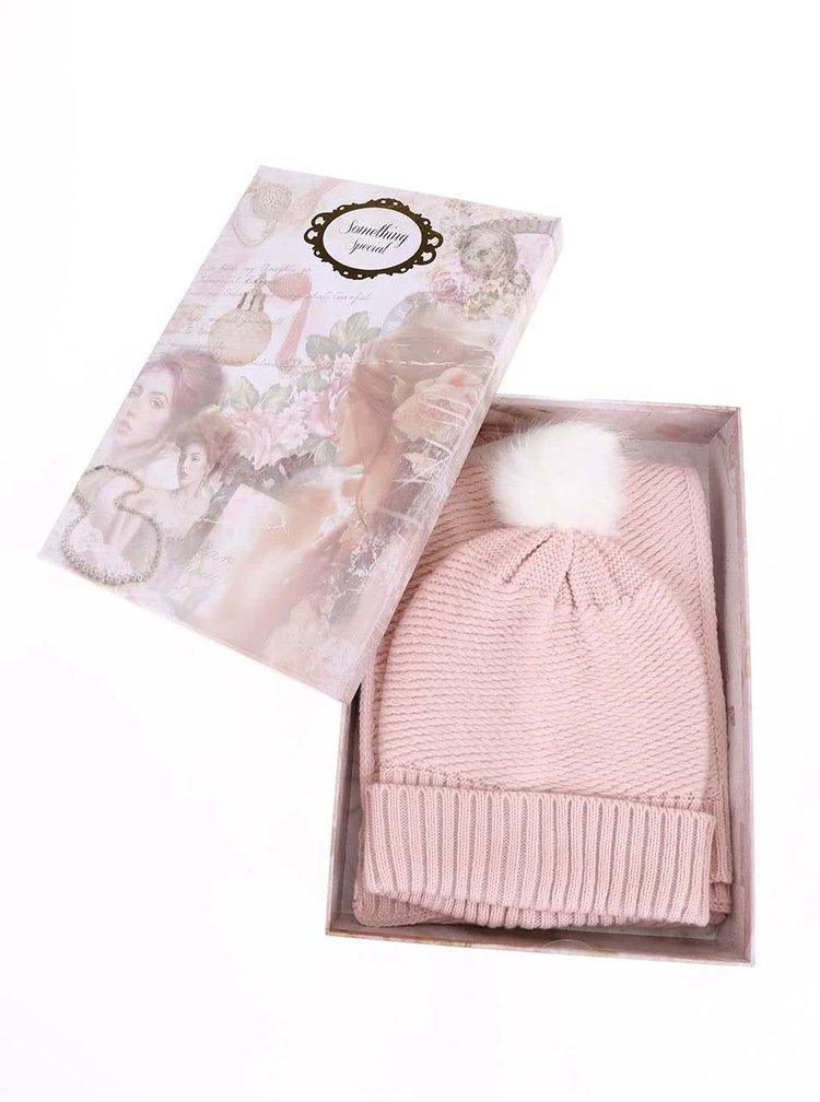 Světle růžový set s čepicí a šálou Something Special by Moon