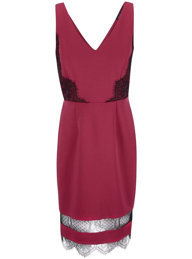 Tmavě růžové šaty s ozdobnou krajkou Dorothy Perkins