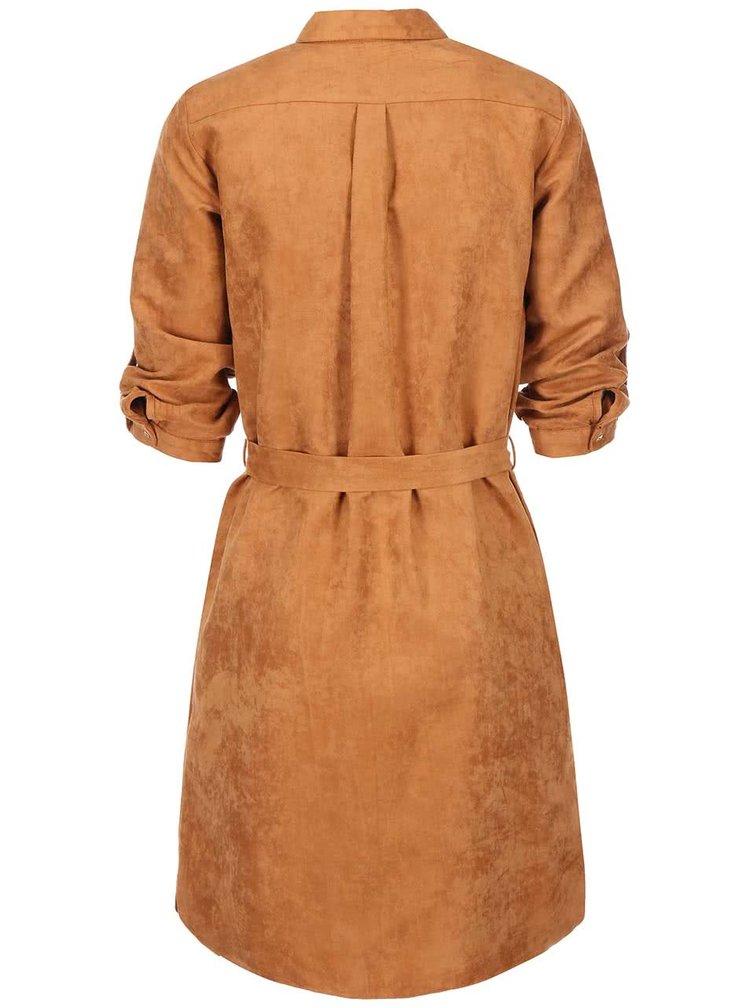 Hnědé košilové šaty se semišovým vzhledem Dorothy Perkins